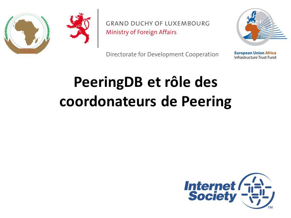 PeeringDB et rôle des coordonateurs de Peering