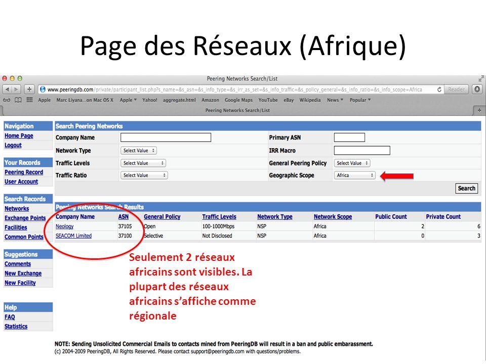 Page des Réseaux (Afrique)