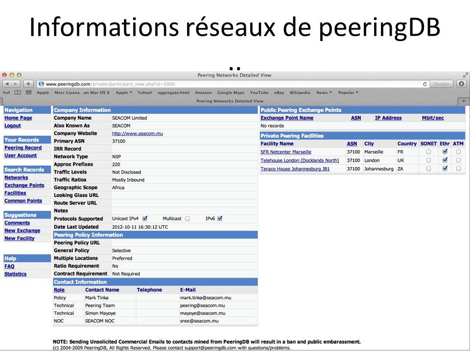 Informations réseaux de peeringDB ..