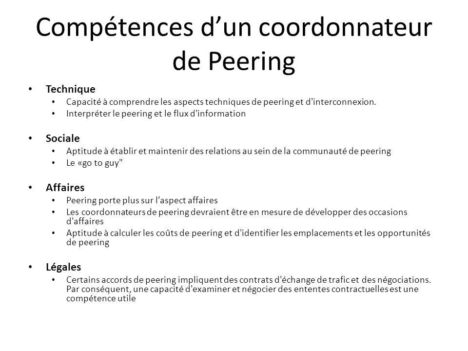 Compétences d'un coordonnateur de Peering