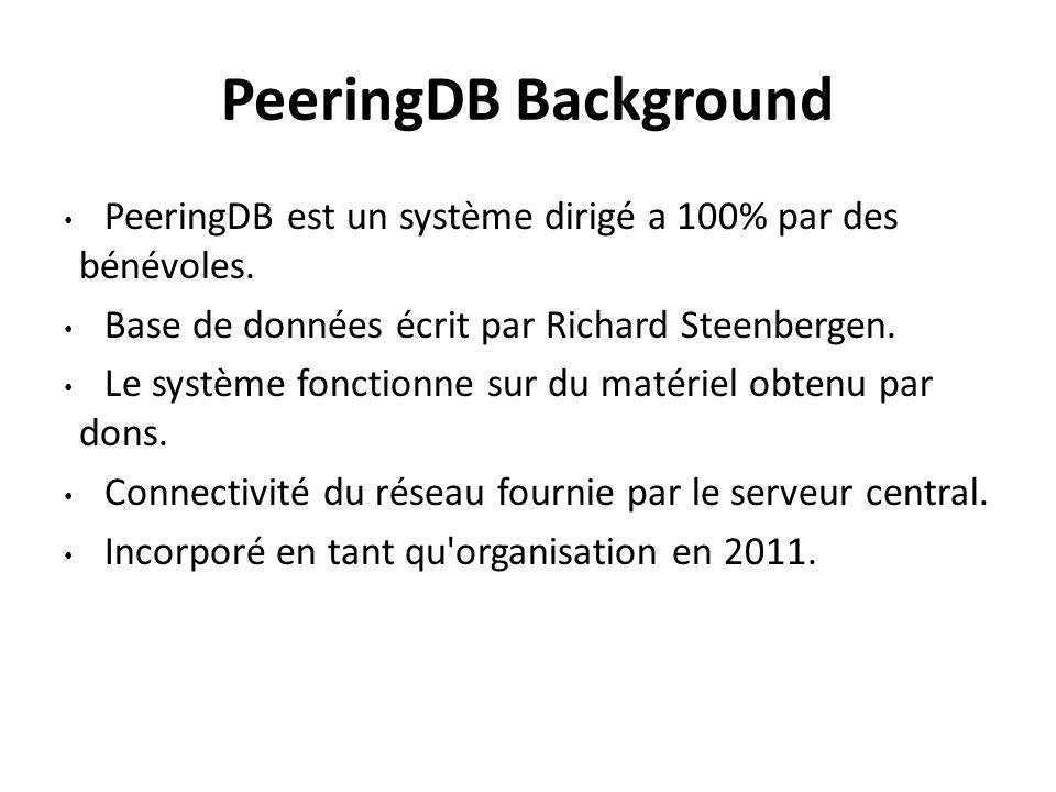 PeeringDB Background PeeringDB est un système dirigé a 100% par des bénévoles. Base de données écrit par Richard Steenbergen.