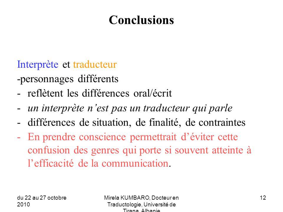 Conclusions Interprète et traducteur -personnages différents