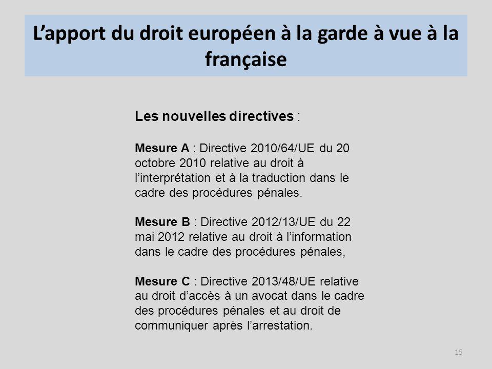 L'apport du droit européen à la garde à vue à la française