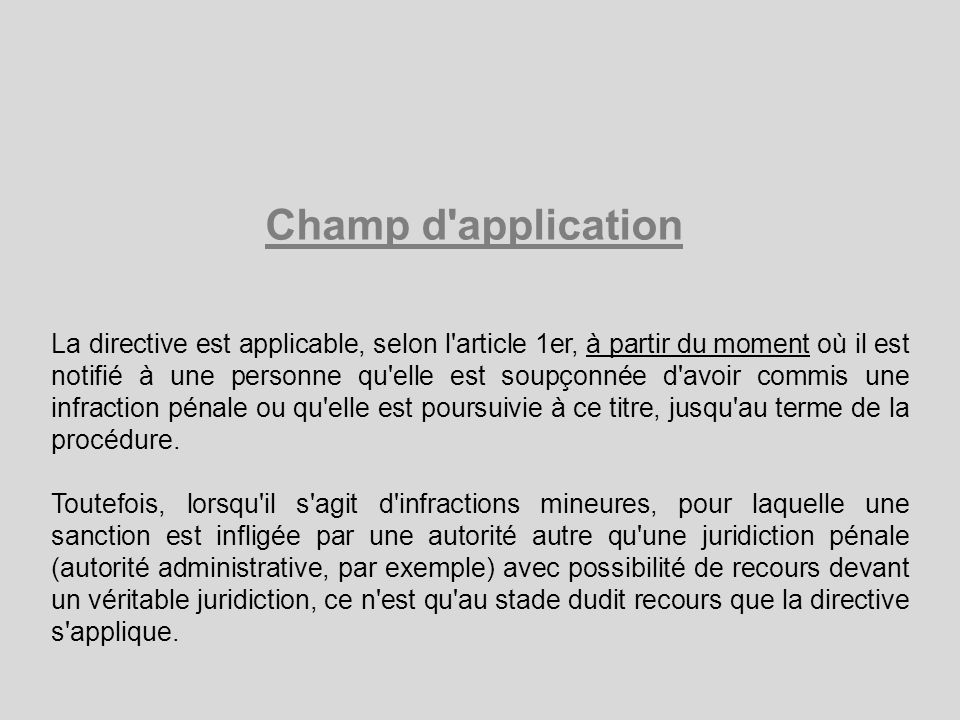 Champ d application