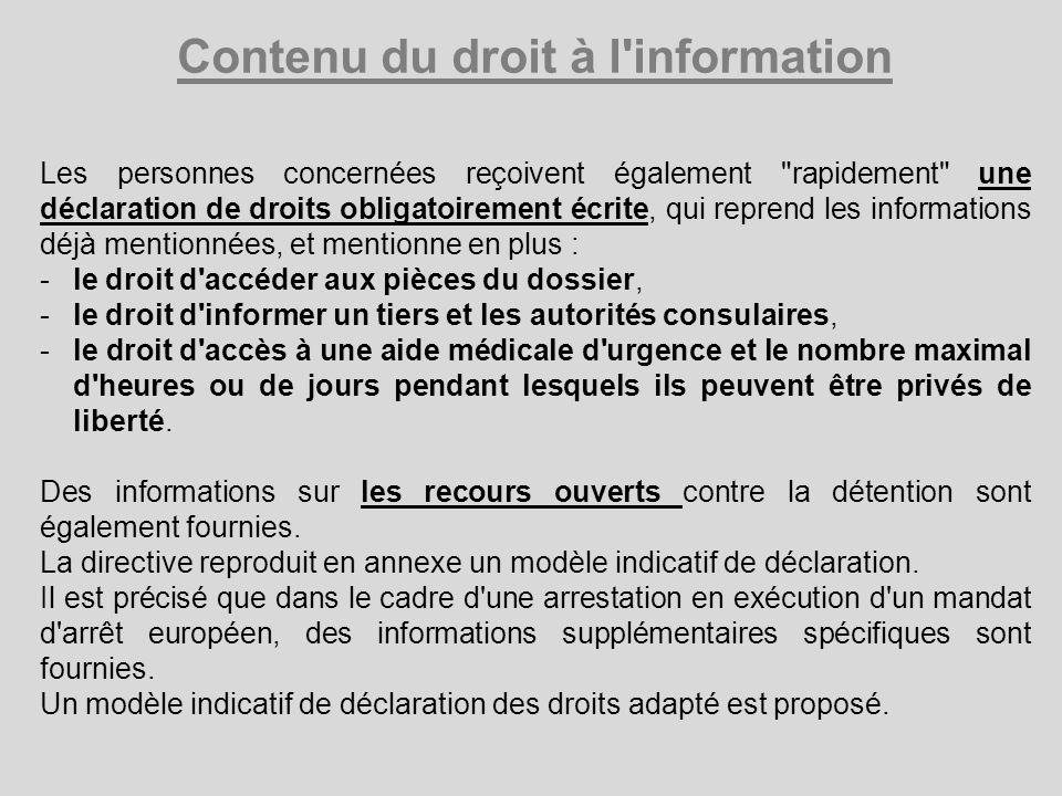 Contenu du droit à l information