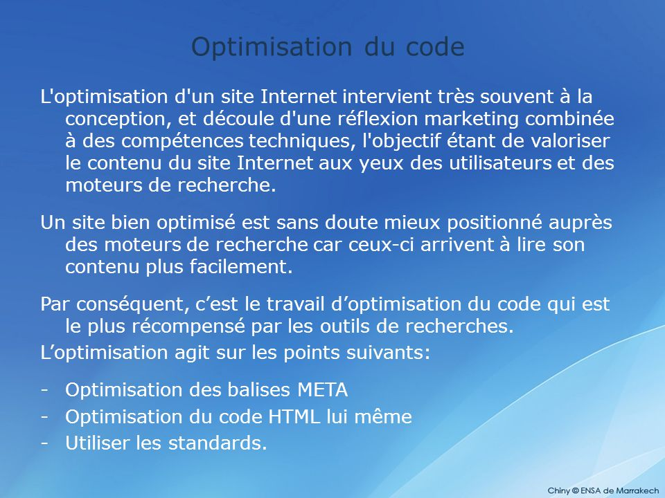 Optimisation du code