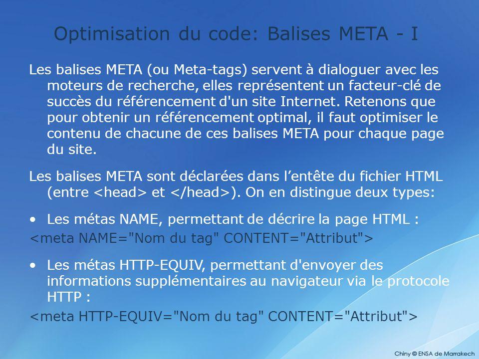 Optimisation du code: Balises META - I