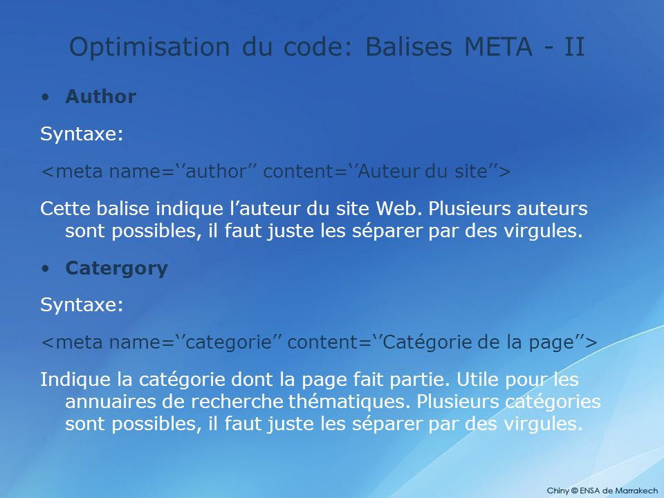 Optimisation du code: Balises META - II