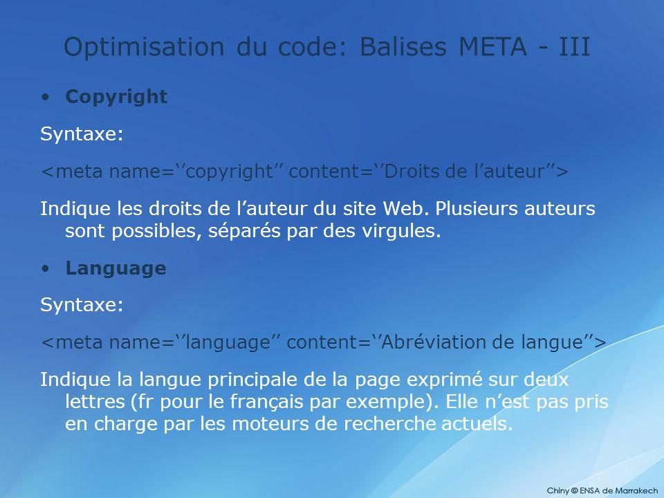Optimisation du code: Balises META - III