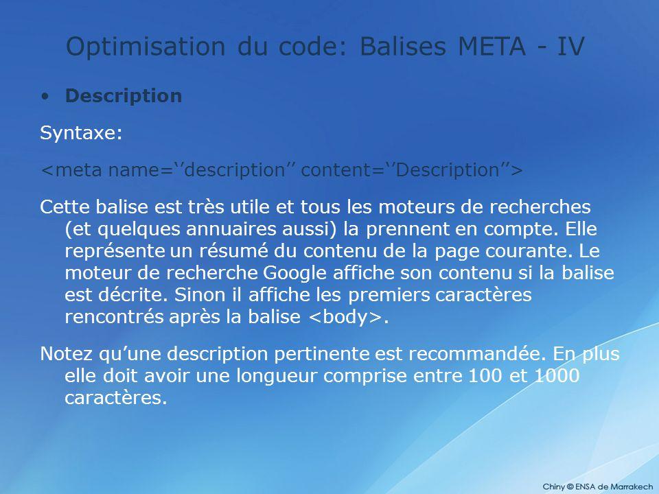 Optimisation du code: Balises META - IV