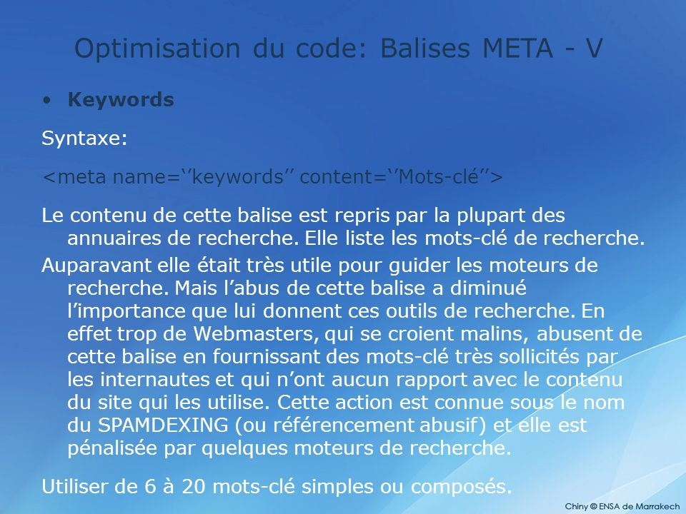 Optimisation du code: Balises META - V