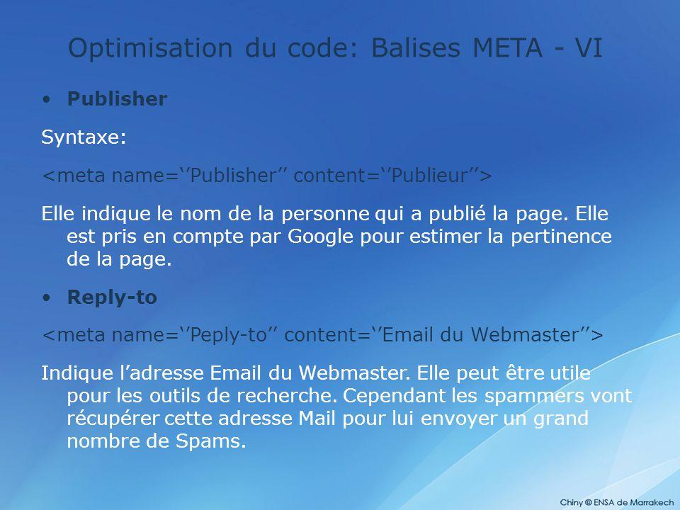 Optimisation du code: Balises META - VI