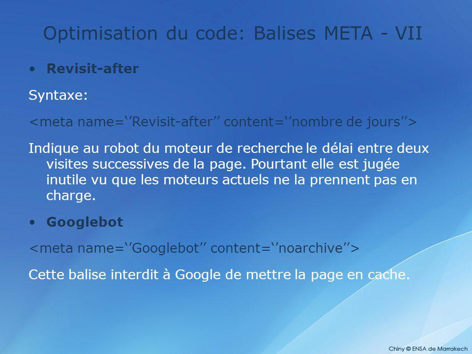 Optimisation du code: Balises META - VII