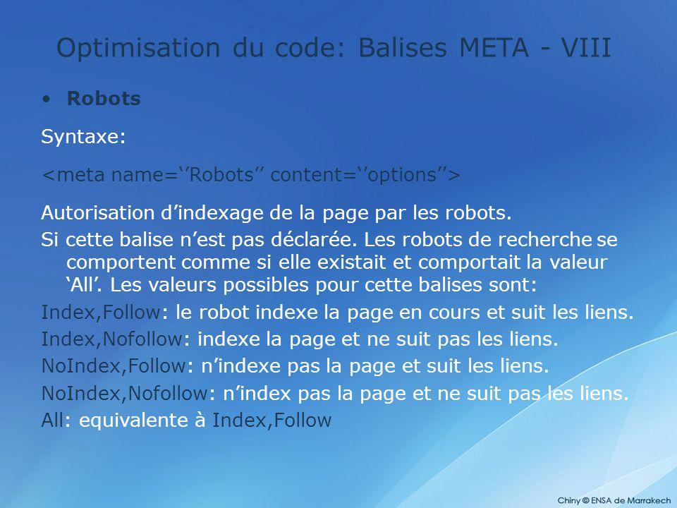 Optimisation du code: Balises META - VIII