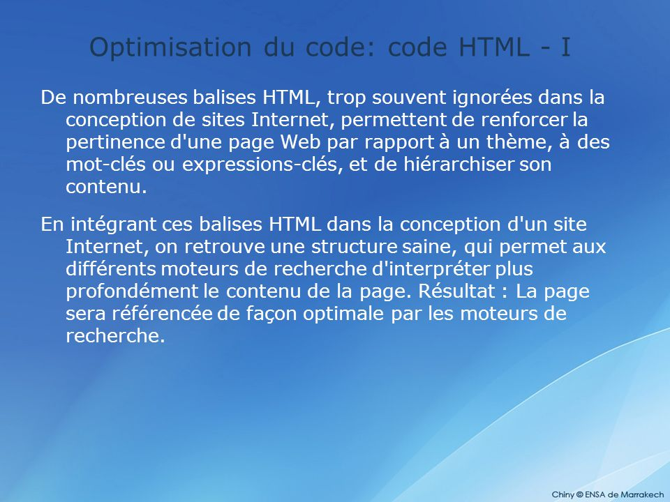 Optimisation du code: code HTML - I