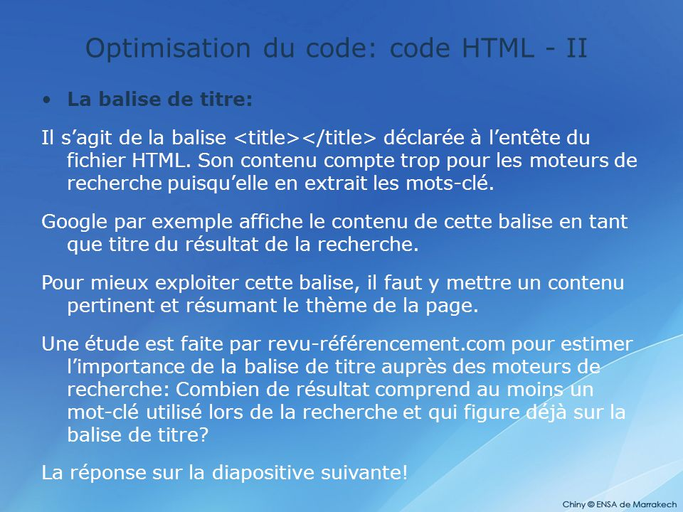 Optimisation du code: code HTML - II