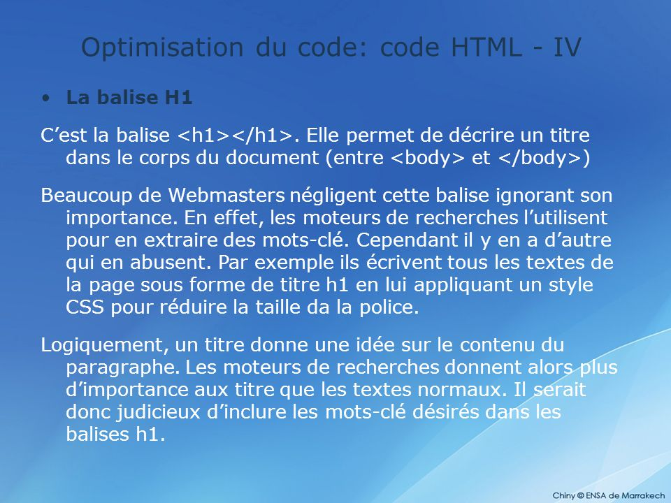 Optimisation du code: code HTML - IV