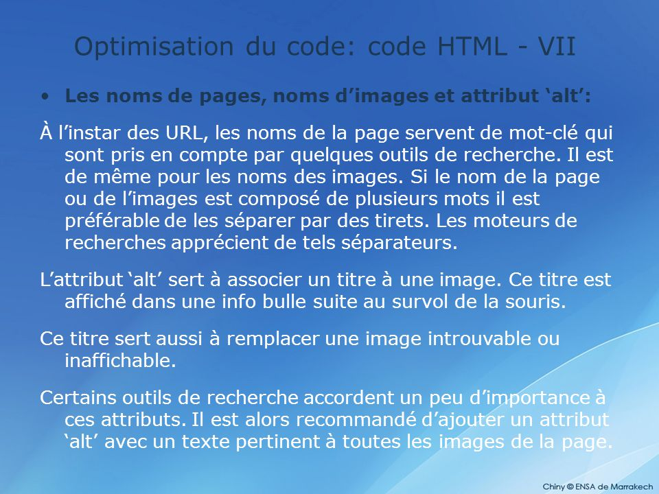Optimisation du code: code HTML - VII