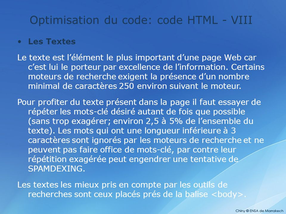 Optimisation du code: code HTML - VIII