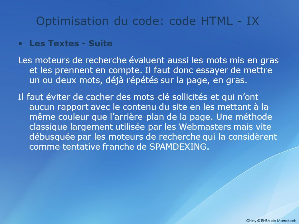 Optimisation du code: code HTML - IX