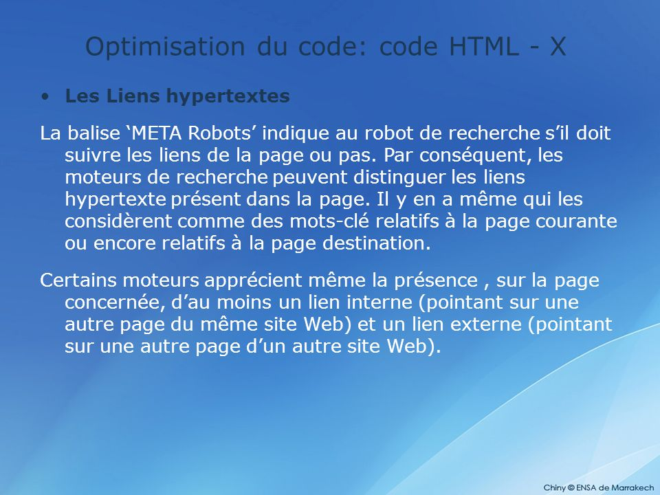 Optimisation du code: code HTML - X