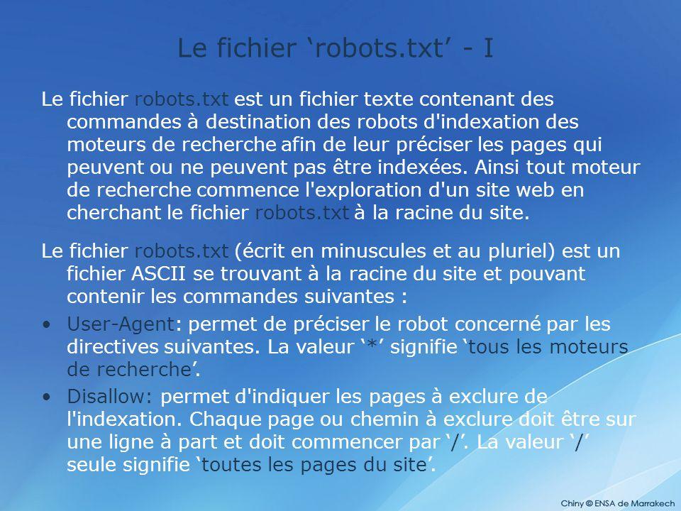 Le fichier 'robots.txt' - I