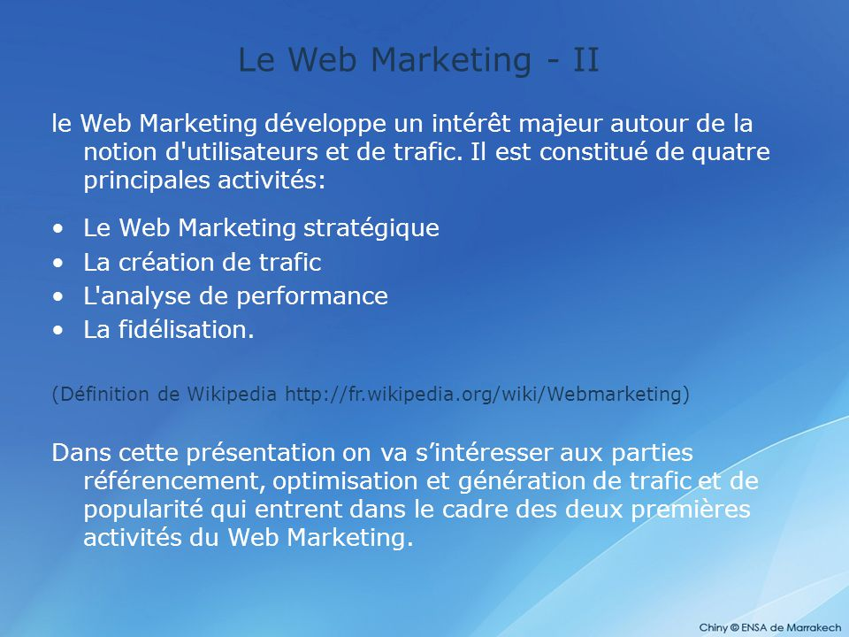 Le Web Marketing - II