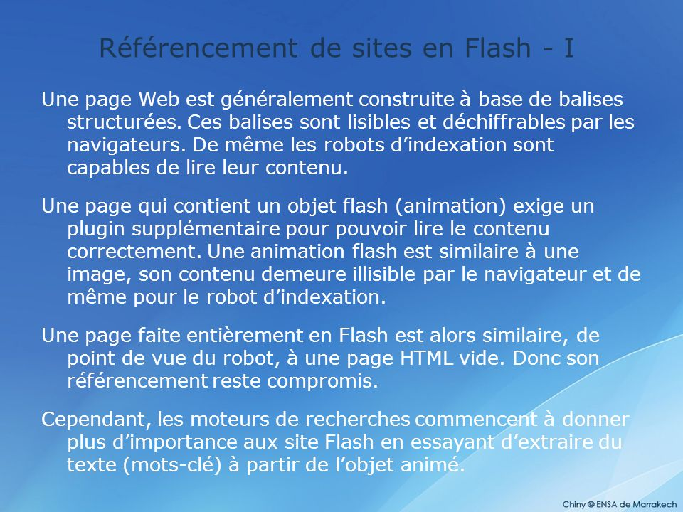 Référencement de sites en Flash - I