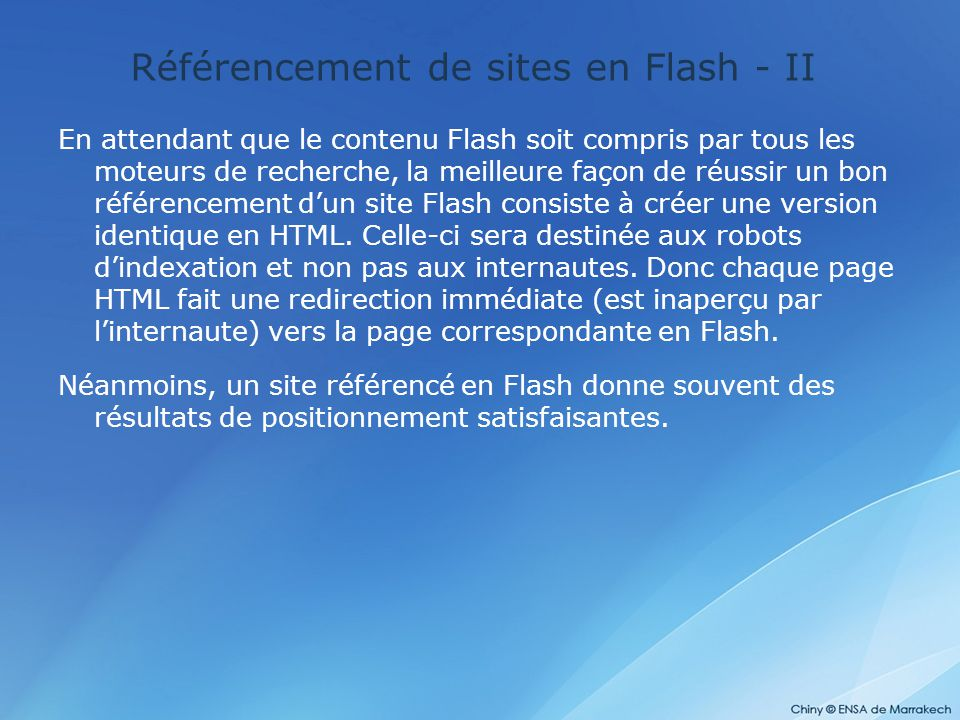 Référencement de sites en Flash - II