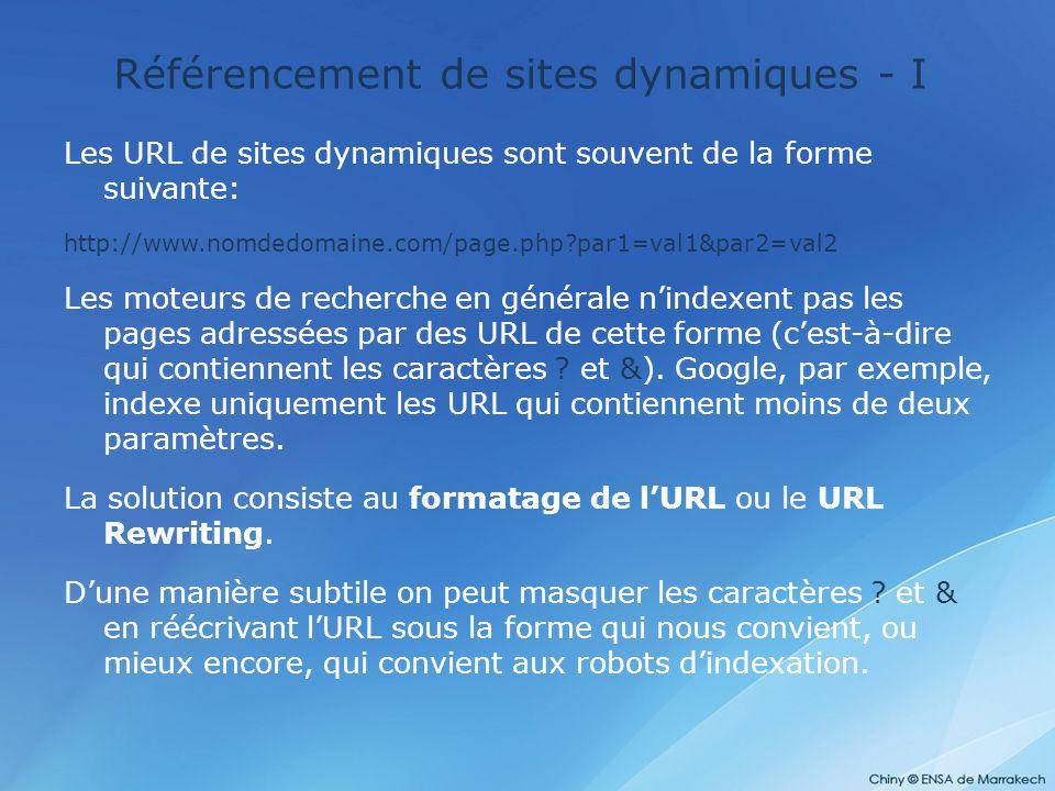 Référencement de sites dynamiques - I