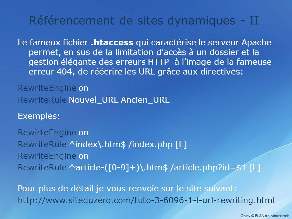 Référencement de sites dynamiques - II
