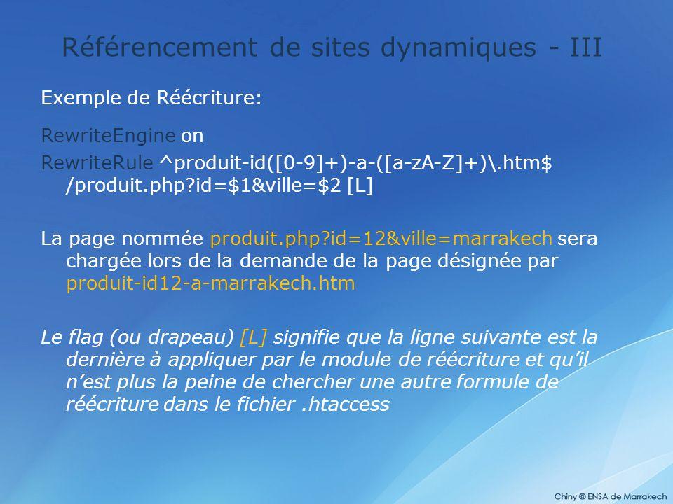 Référencement de sites dynamiques - III