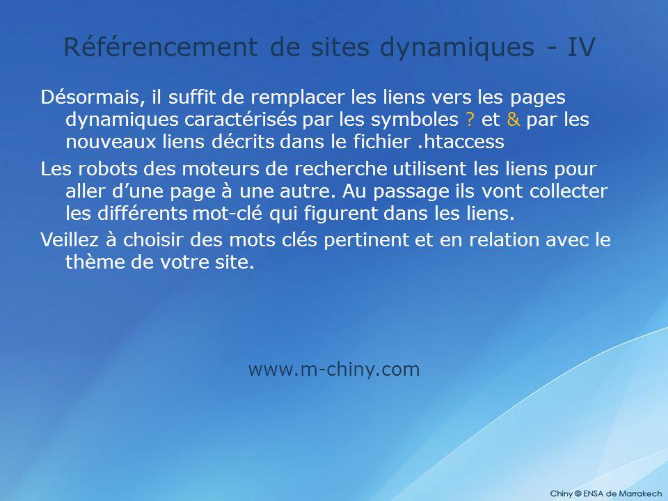 Référencement de sites dynamiques - IV