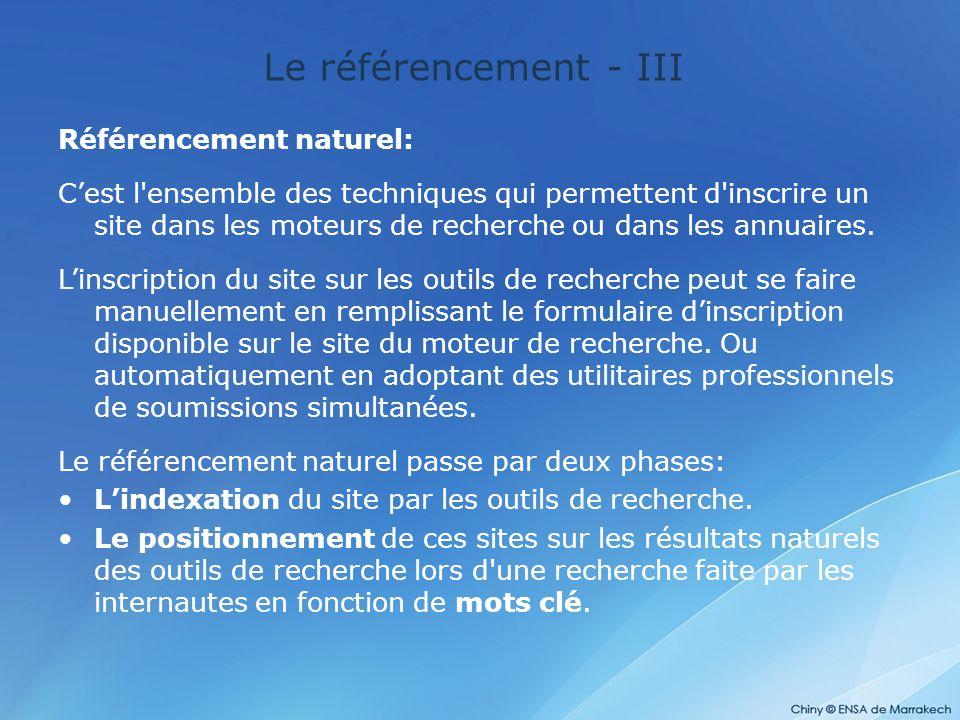 Le référencement - III Référencement naturel: