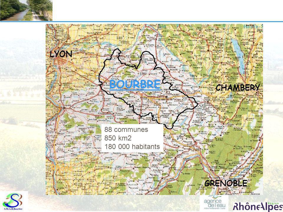 BOURBRE LYON CHAMBERY Rhône GRENOBLE 88 communes 850 km2