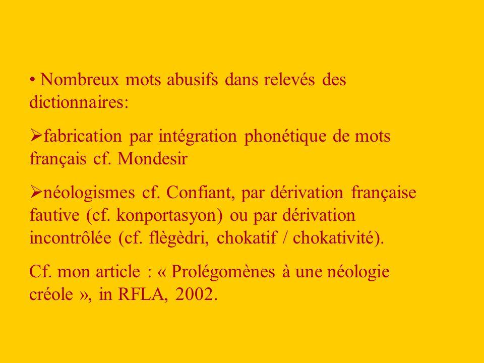 Nombreux mots abusifs dans relevés des dictionnaires: