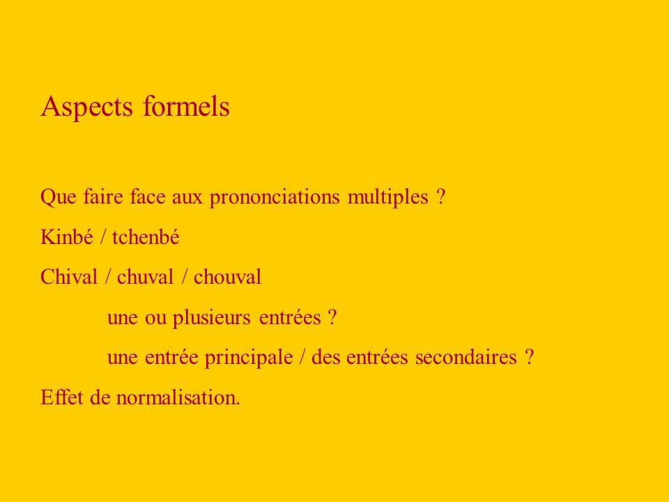 Aspects formels Que faire face aux prononciations multiples