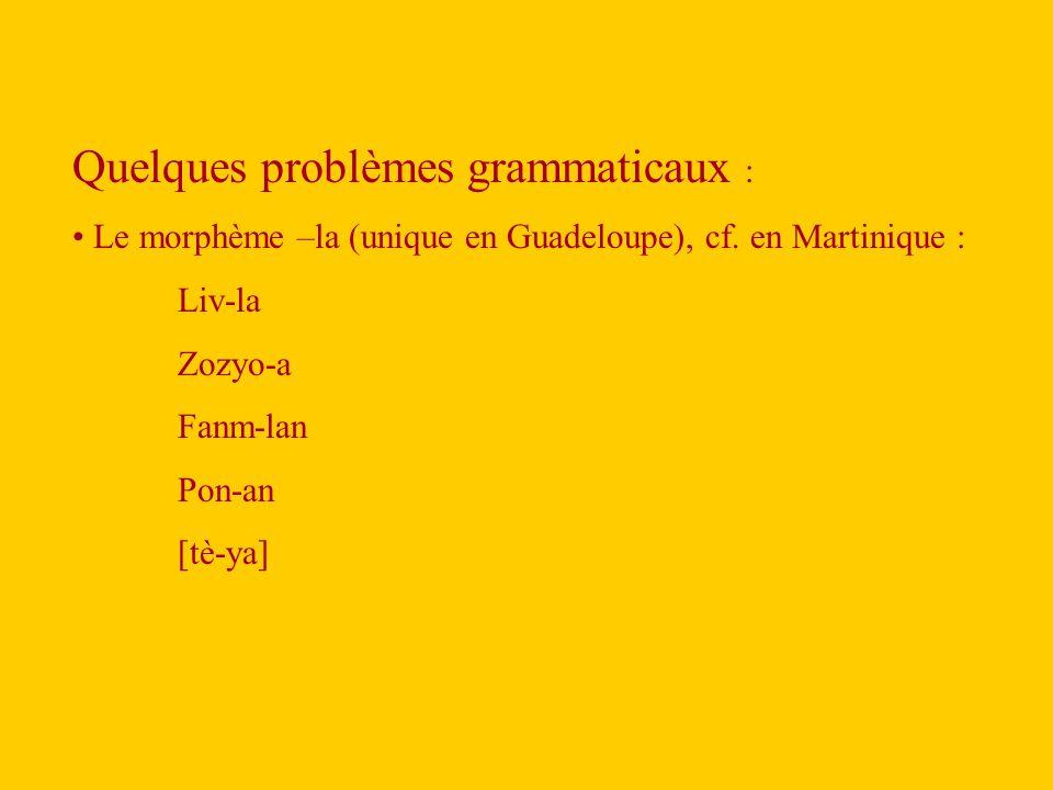 Quelques problèmes grammaticaux :