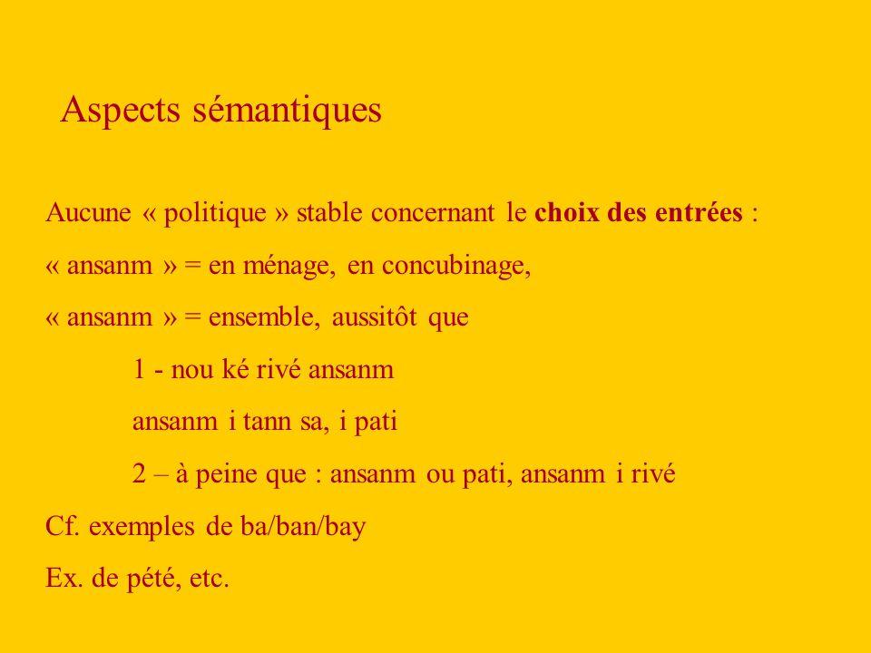 Aspects sémantiques Aucune « politique » stable concernant le choix des entrées : « ansanm » = en ménage, en concubinage,