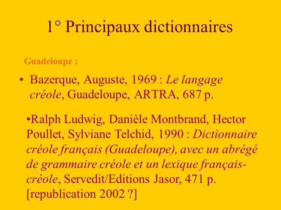 1° Principaux dictionnaires
