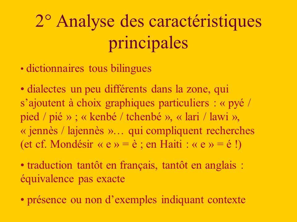 2° Analyse des caractéristiques principales