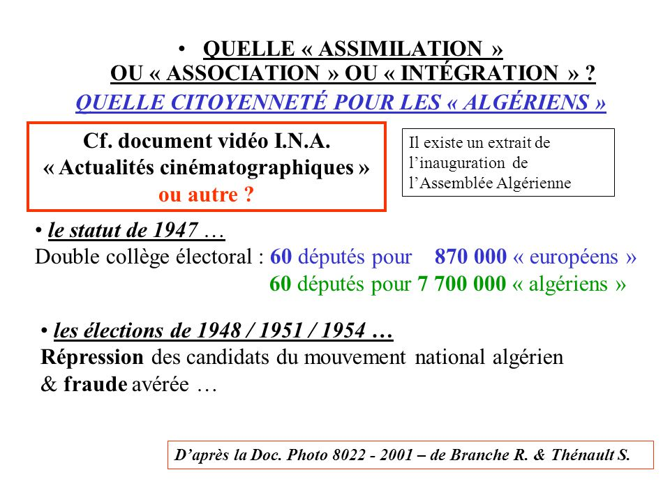 QUELLE « ASSIMILATION » OU « ASSOCIATION » OU « INTÉGRATION »