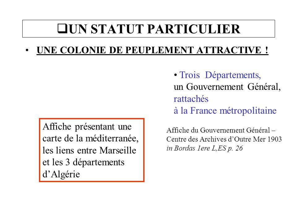 UN STATUT PARTICULIER UNE COLONIE DE PEUPLEMENT ATTRACTIVE !