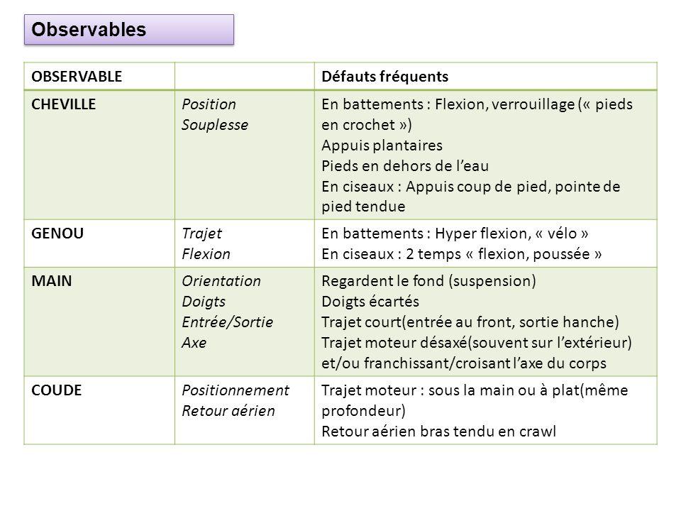 Observables OBSERVABLE Défauts fréquents CHEVILLE Position Souplesse