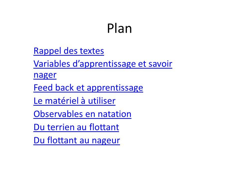 Plan Rappel des textes Variables d'apprentissage et savoir nager
