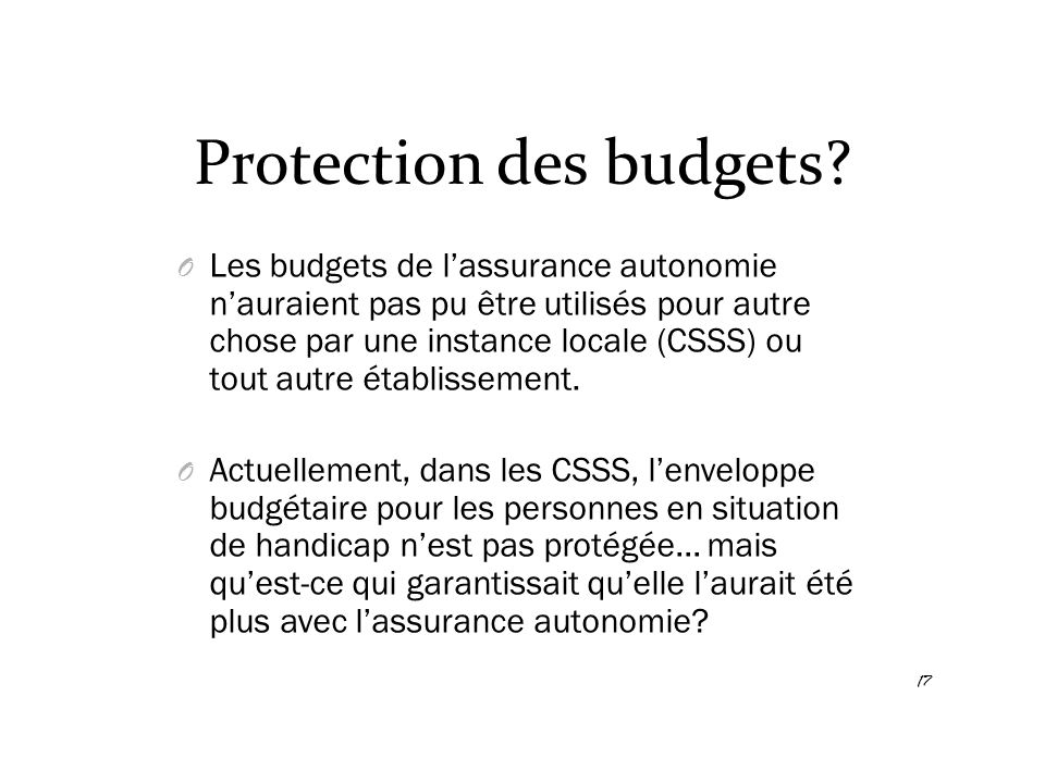 Protection des budgets