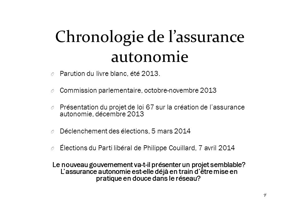 Chronologie de l'assurance autonomie