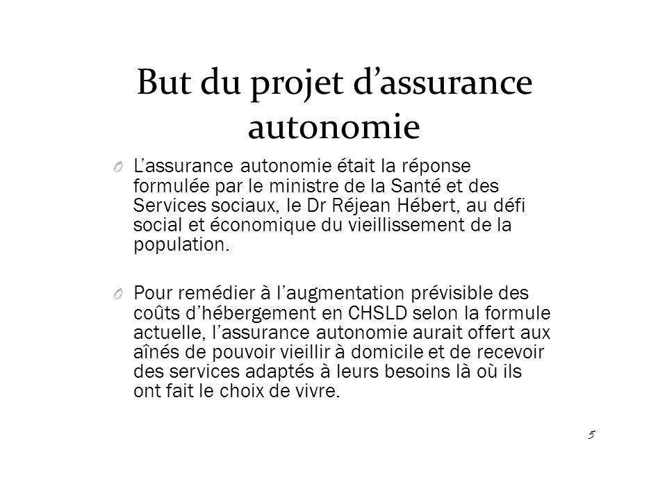 But du projet d'assurance autonomie