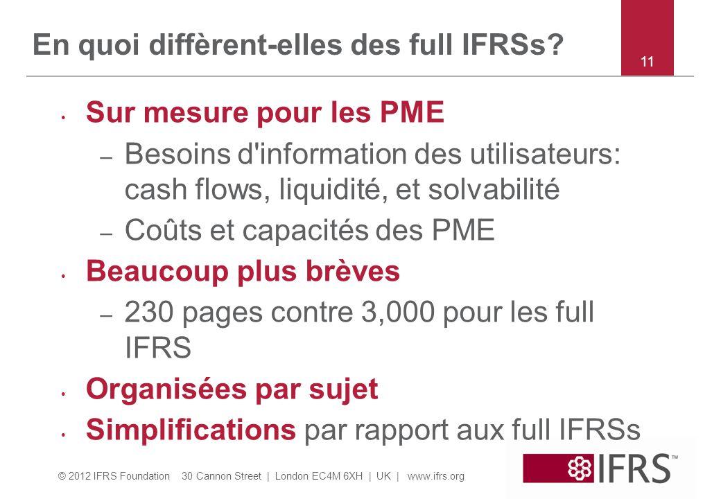 En quoi diffèrent-elles des full IFRSs