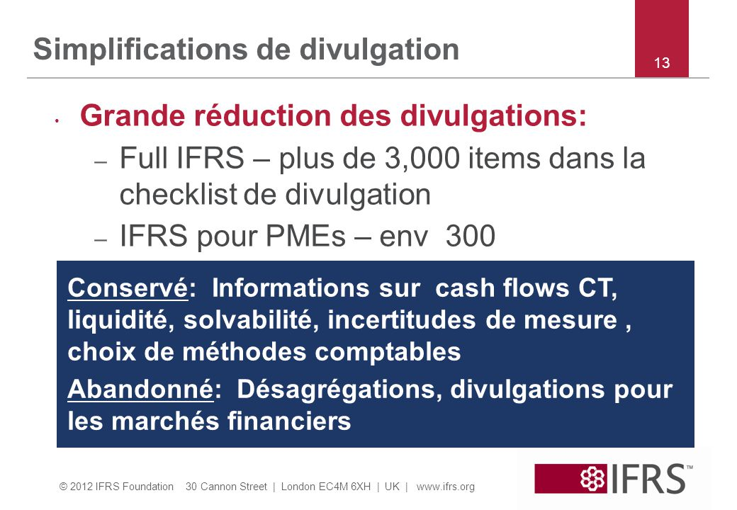 Simplifications de divulgation